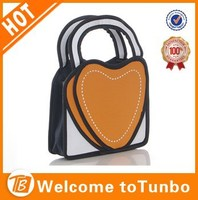 Best selling colorful heart shape 3d comic hand bag 2d cartoon bag