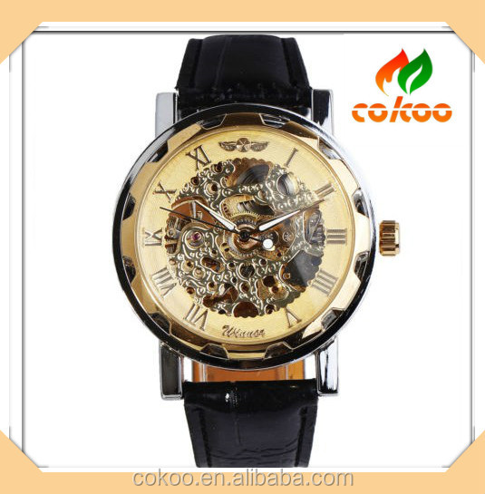 Hot Sale!!Classic Men's Black Leather Gold Dial Skeleton Mechanical Sport Army Wrist Watch