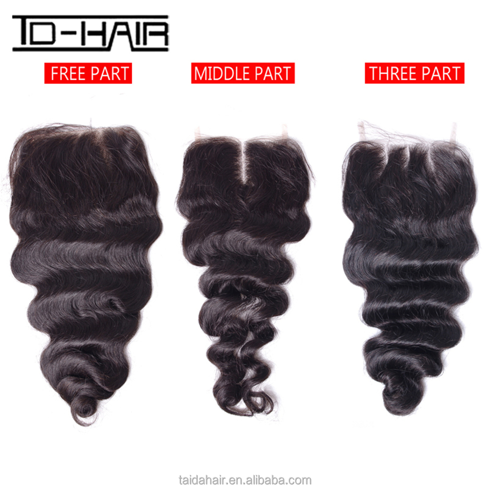 Natural Hairline Loose Wave 100% Handmade 4*4 Brazilian Hair Cheap Lace Closure