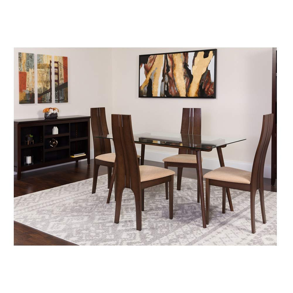 5 Piece Wood Dining Table Set with Glass Top and Padded Wood Dining Chairs - clear/espresso - Espresso Finish Dining Chairs Wood Antique Chair Back Seat Set Carved Side Ornate Svitlife
