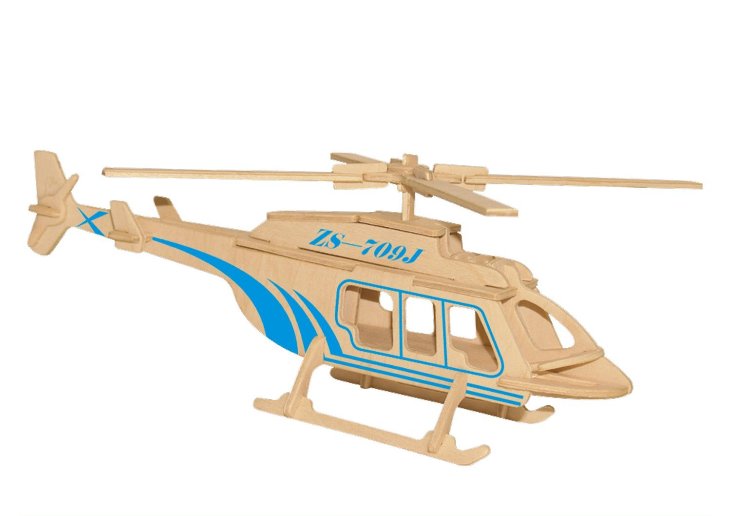 Greencherry Wooden Creative 3D Three Jigsaw Assembled Helicopter Puzzle Three Demension Jigsaw Plane Educational Intelligence Toy for Kids