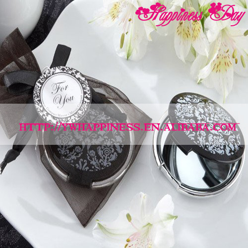 Best Selling Wedding Favors Reflections Elegant Black-and-White Pocket Mirror Compact Mirror Favors