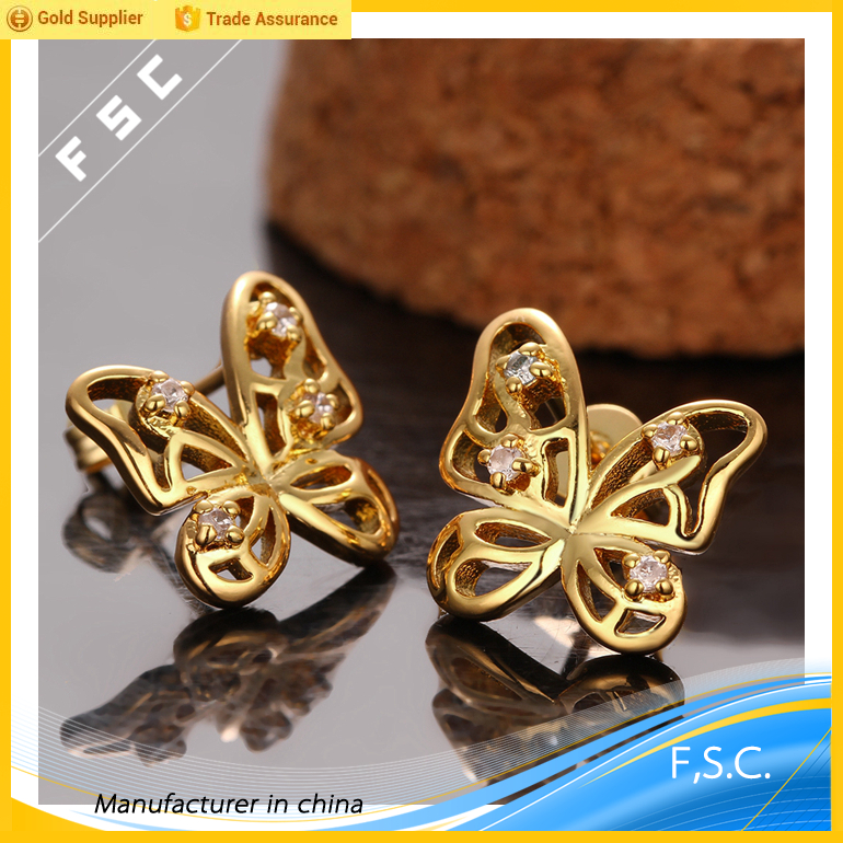 Latest earring designs of zircon custom made wholesale butterfly yellow gold plated stud earring for girls