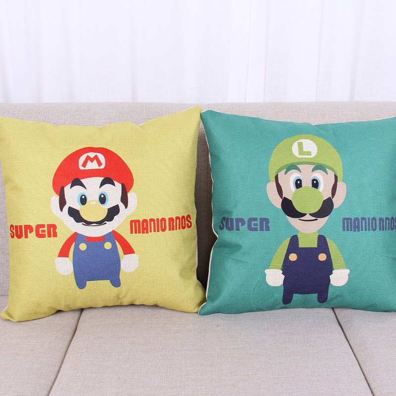 45cm Cartoon Super Mario Fashion Cotton Linen Back Cushion Hot Sale 18 Inch New Home Sitting Room Decor Coffee Sofa Pillow HL