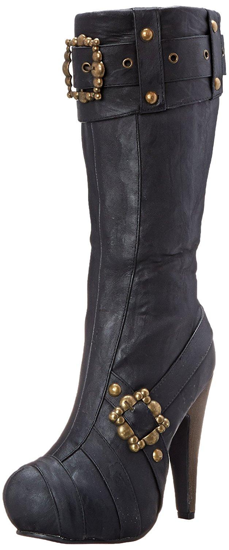cbe056d37352 Get Quotations · Knee High Steampunk Boots - Black Womens Footwear