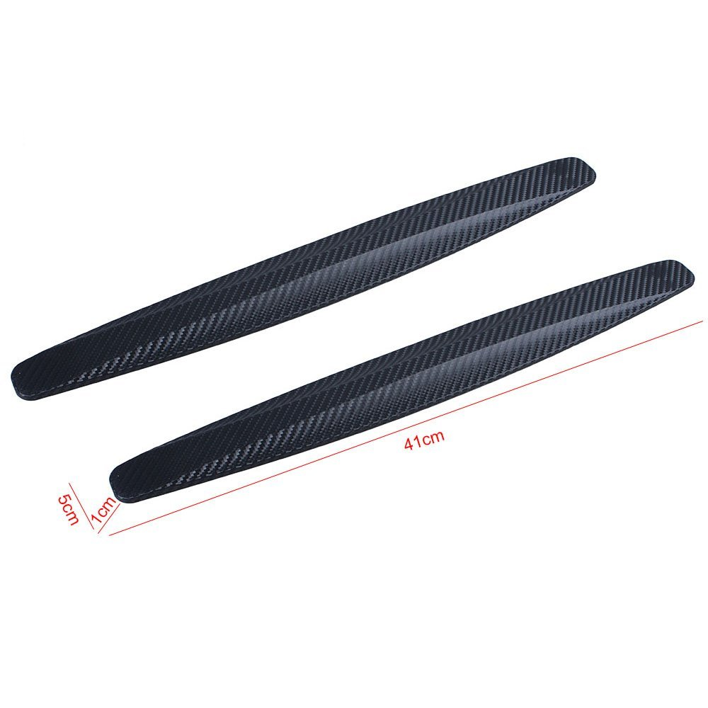 AUMO-mate® Black Universal Carbon Fiber Car Bumper Anti-rub Anticollision Auto Bumpers Strip(Pack of Two)