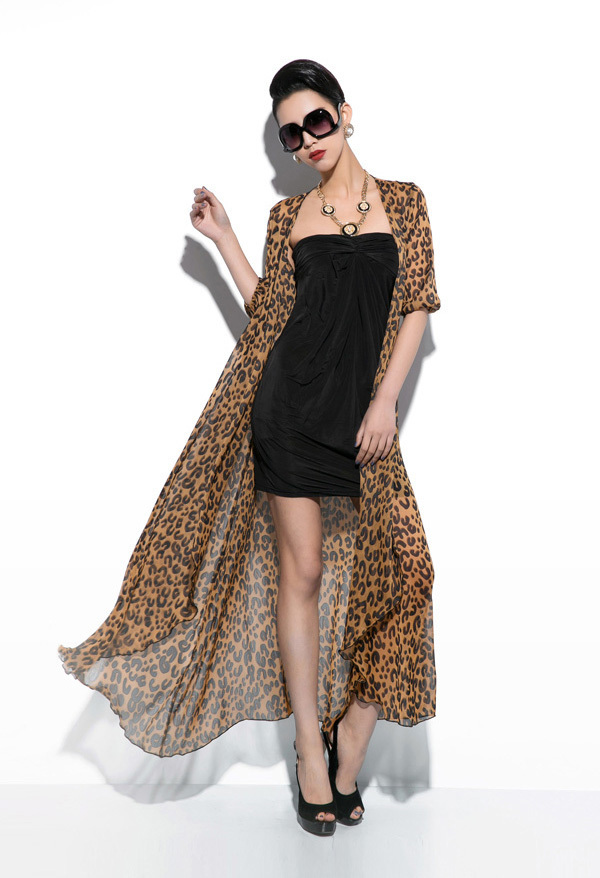 8918f59f42 Get Quotations · Sexy Women Party Long Leopard Print Maxi Chiffon Floor-Length  Dress