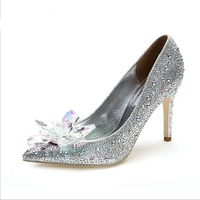 Queena Cinderella crystal glass flower shoes accessories