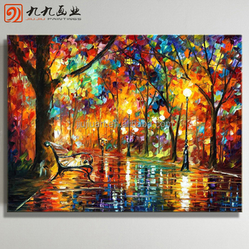 Wholesale Handmade landscape paintings scenery canvas oil painting knife oil painting