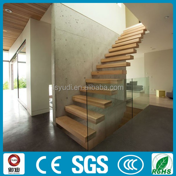 YUDI customized frameless glass solid wooden straight floating stairs manufacture
