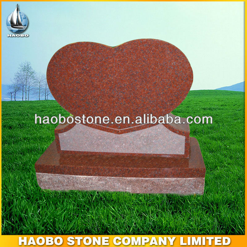 Single Monument Indian Red Granite Heart Headstone Designs