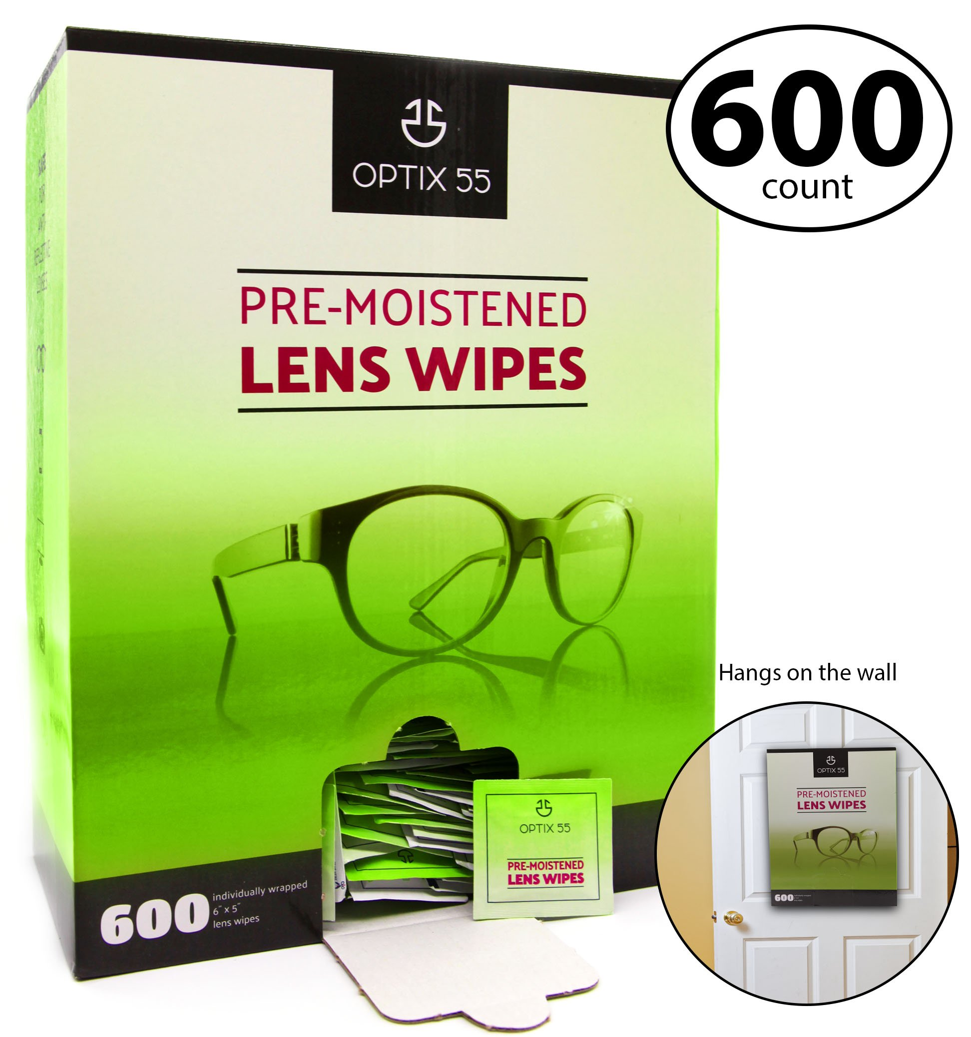 e53933ef24 Get Quotations · Pre-Moistened Lens Cleaning Wipes - 600 Cloths - Safely  Cleans Glasses