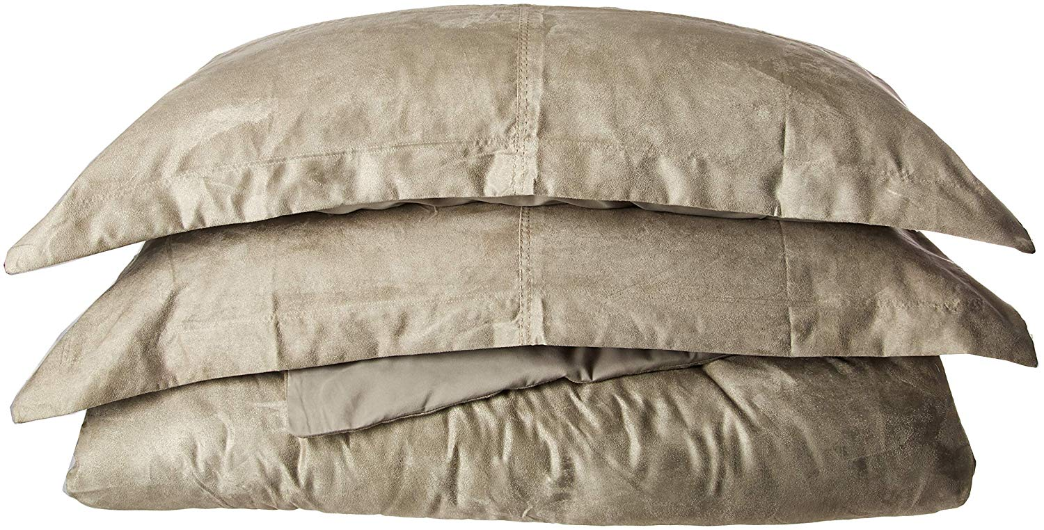 LCM Home Fashions 3 Piece Oversized Micro Suede Saddle Duvet Cover Set, King, Grey