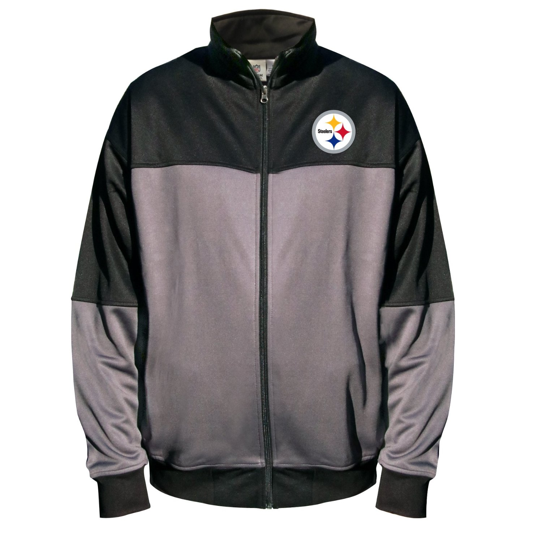 NFL Pittsburgh Steelers Unisex Poly Fleece Track Jacket, Charcoal/Black, 4XT