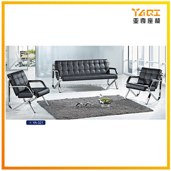 Foshan Supplier Modern Furniture Armrest Iron Feet Office Room American Leather Trend Sofa Ya 321