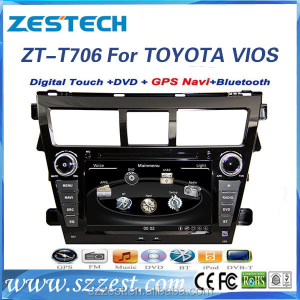 ZESTECH OEM 7 inch 2 din <strong>car</strong> dvd player with gps touch screen <strong>car</strong> audio for <strong>toyota</strong> VIOS 2009-2013 with SD card BT+DVD+RADIO+SWC