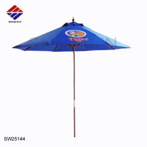 outdoor teak wood patio umbrella with branded logo for commercial restaurant market cafe furniture