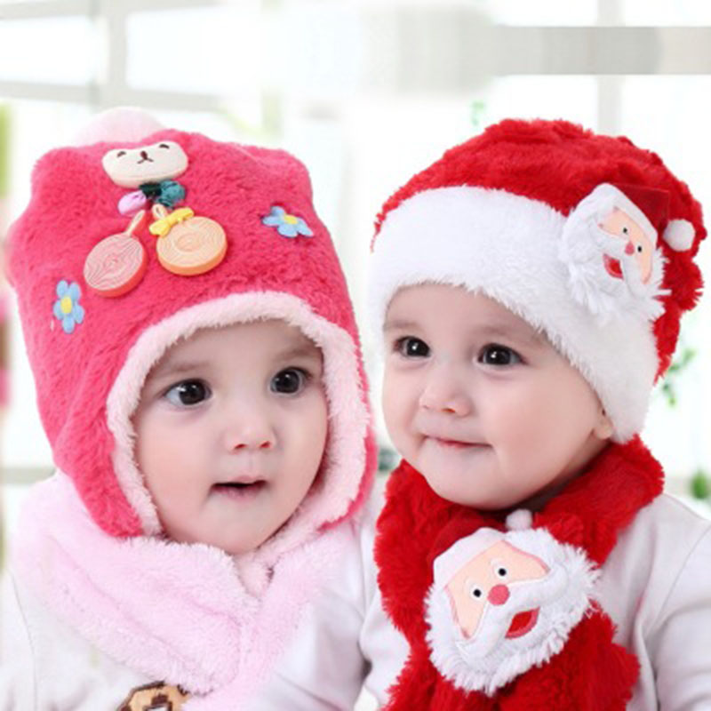 Kids Birthday Gift Cute Candy Hat Autumn Winter Plush Warm Christmas Baby Hat and Scarf Set
