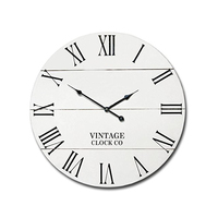 Farmhouse Vintage antique style rustic Wooden White Wall Clock