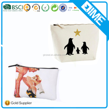 Gold Metal Zipper Customized Logo Print Makeup Bag Blank Plain Clear Basics Promotional Wholesale Canvas Cotton Cosmetic Bag