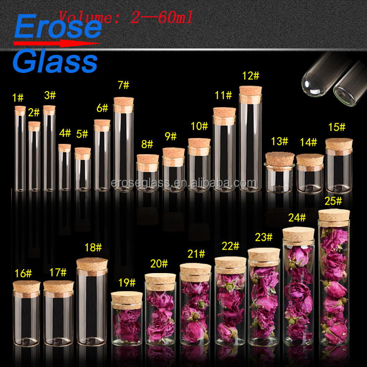 Wholesale cylinder style glass vials with cork lid
