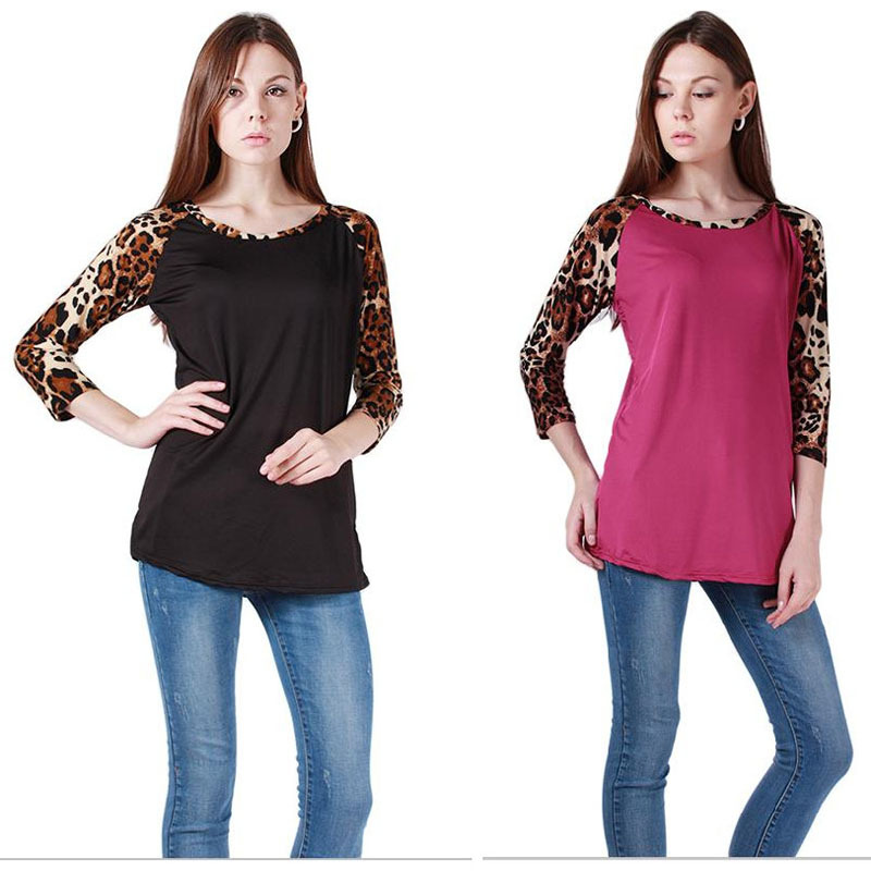 New Autumn,Winter 2015 Fashion Leopard Sleeve Patchwork Sexy Women T-shirt Casual Charming O-Neck Women Tees DP666865