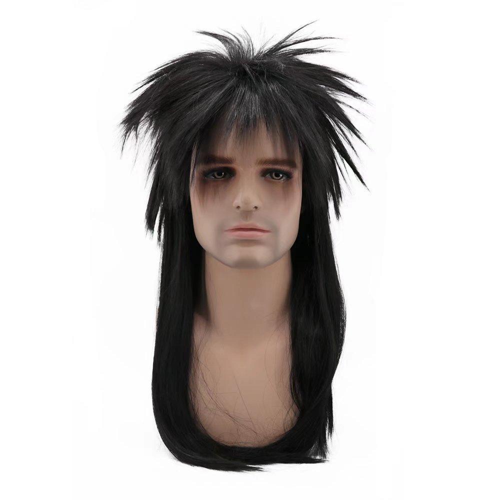 COSPLAZA 80s Heavy Metal Rocker Cosplay Wig Adult Long Straight Black Blonde Spiked Mullet Hair