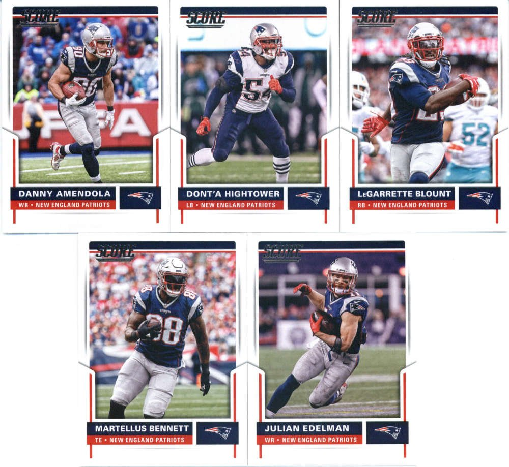 2017 Score New England Patriots Team Set of 10 Cards: LeGarrette Blount(#26), Dont'a Hightower(#109), Danny Amendola(#121), Julian Edelman(#161), Martellus Bennett(#192), Tom Brady(#200), Malcolm Butler(#205), Chris Hogan(#211), Rob Ninkovich(#240), Rob Gronkowski(#281)
