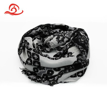 Customized Printed Pattern Black Colors 100% Rayon Knit Scarf