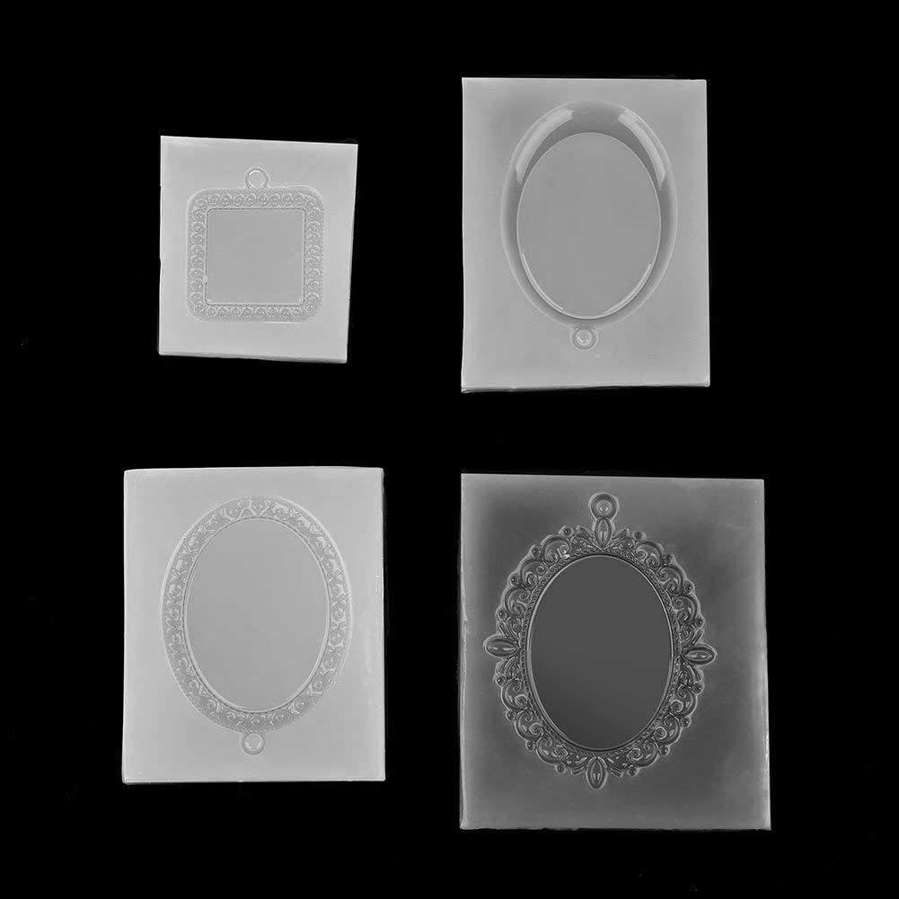 Delaman Silicone Molds 4PCS Epoxy DIY Resin Mold, Oval, Square, Pendant Making Tool