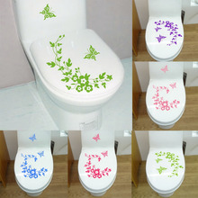 Butterfly Flower bathroom wall stickers home deocr home decoration wall decals for toilet decal sticker decor