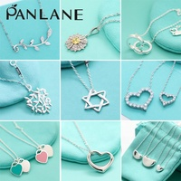 Factory Wholesale Silver 925 Necklace European and American Style Tiffany Blue Fashion Pop Pendant