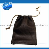 Custom drawstring Soft leather pouch bags for power bank
