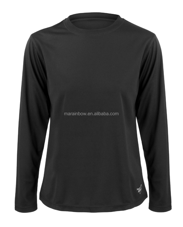 Custom Made Long Sleeve Plain Design Solid Black Blank Dri Fit Long