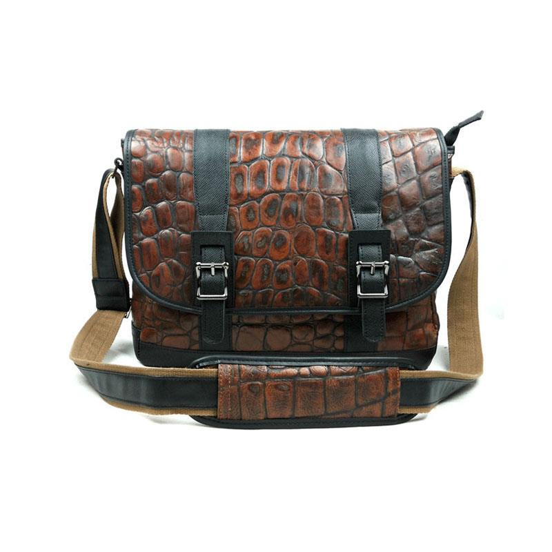 New Luxury Brand Vintage  Casual 100% Top Genuine Cowhide Leather Men Messenger Bag Shoulder Crossbody Men's Bags