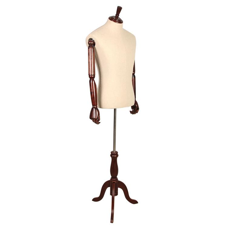 Male Wooden Arm Linen Half Body Adjustable Men Dress Form