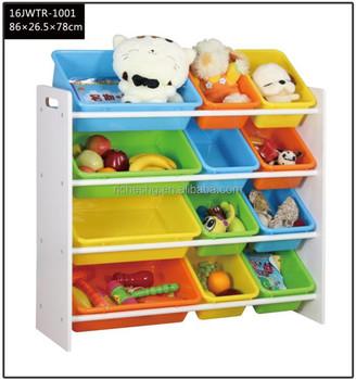 Kids Toy Organizer And Storage Bins White Pastel 3 Tier Mdf Wooden