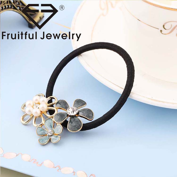 Wholesale korean small sweet wind pearl diamond alloy girl hair tie elastic  hair band 230eae55147