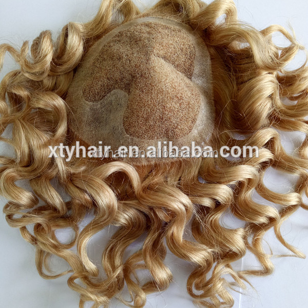 Alibaba express blonde color long hair curly men's custom toupee for men