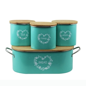 BX powder coating blue metal food storage can with wood cover for tea sugar coffee and bread