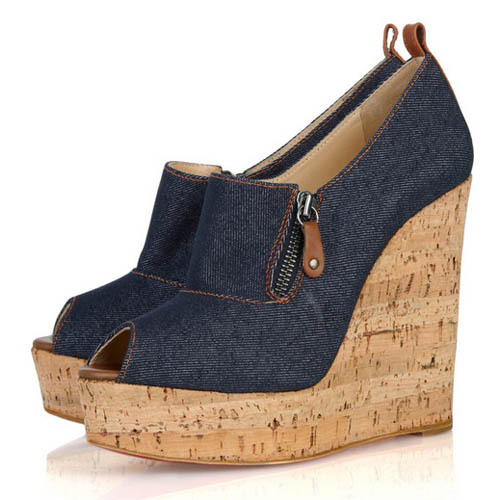 Free shipping,2012 spring fashion gentle women denim vintage casual wedges open toe all-match women's shoes single shoes