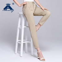 Casual ladies khaki cropped pants for wholesale skinny women ninth pant