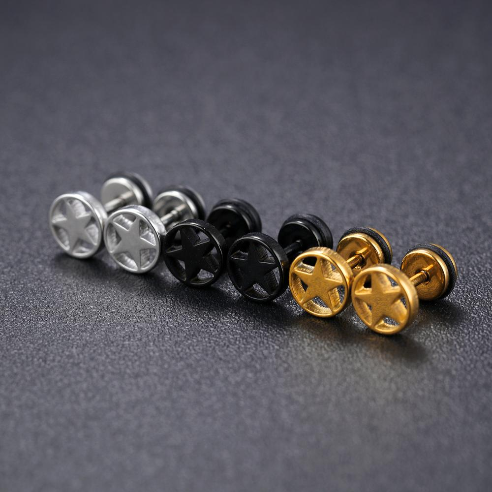Wholesale Custom Mens Jewelry Stainless Steel Screw Star Earring Stud