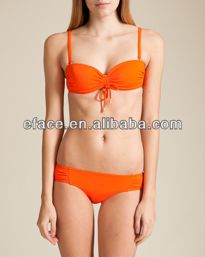 orange sexy bikini with removeble cups young lady swimsuit