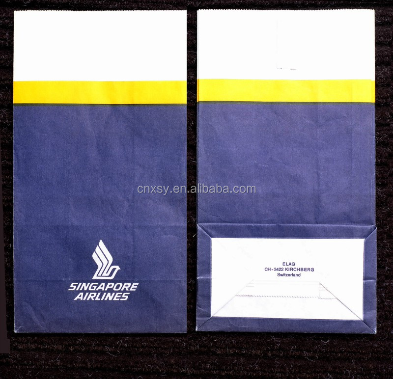 inflight sickness bag, airplane sickness bag,airplan vomit bag
