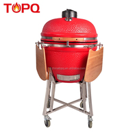 TOPQ 25 inch portable kamado grill ceramic grill and smoker