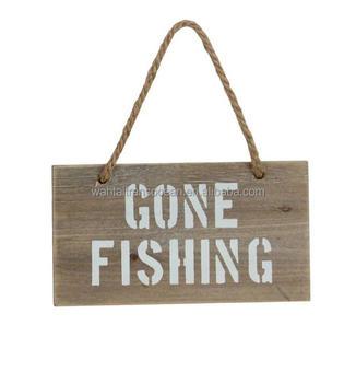 Wooden Gone Fishing Sign Hanging Farmhouse Decoration White Nautical