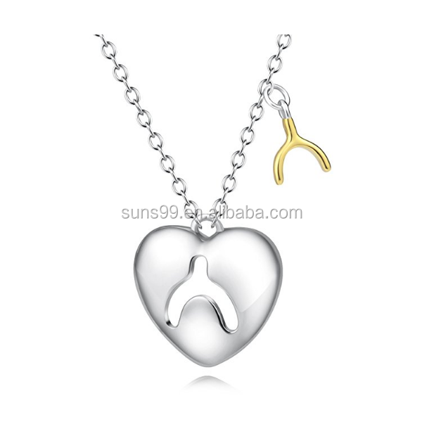 Unique Design Stainless Steel Tiny Wishbone Heart Jewelry Yfn Gold Tone Women Pendant Necklace