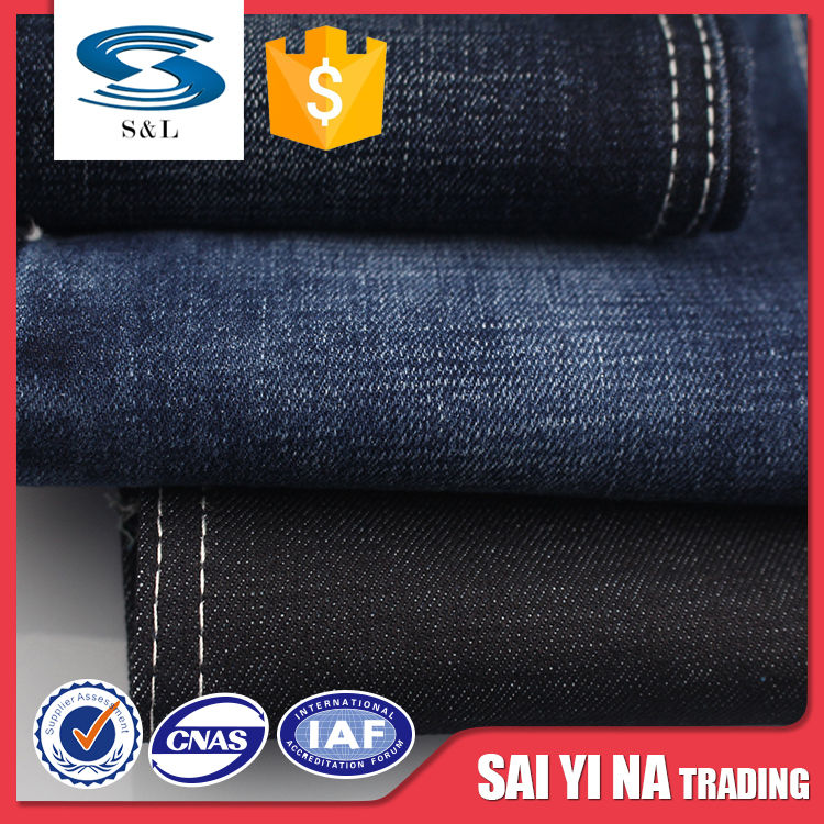B83 wholesale 100 cotton stock denim jean fabric clothing material for pant