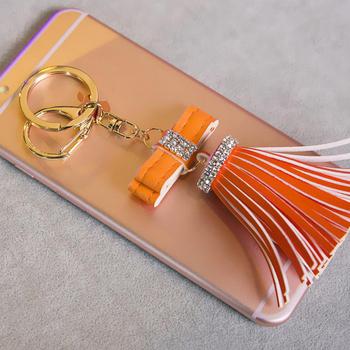 Damen Pu Keychain Leder Fransen Diamant Schmetterling Anhanger